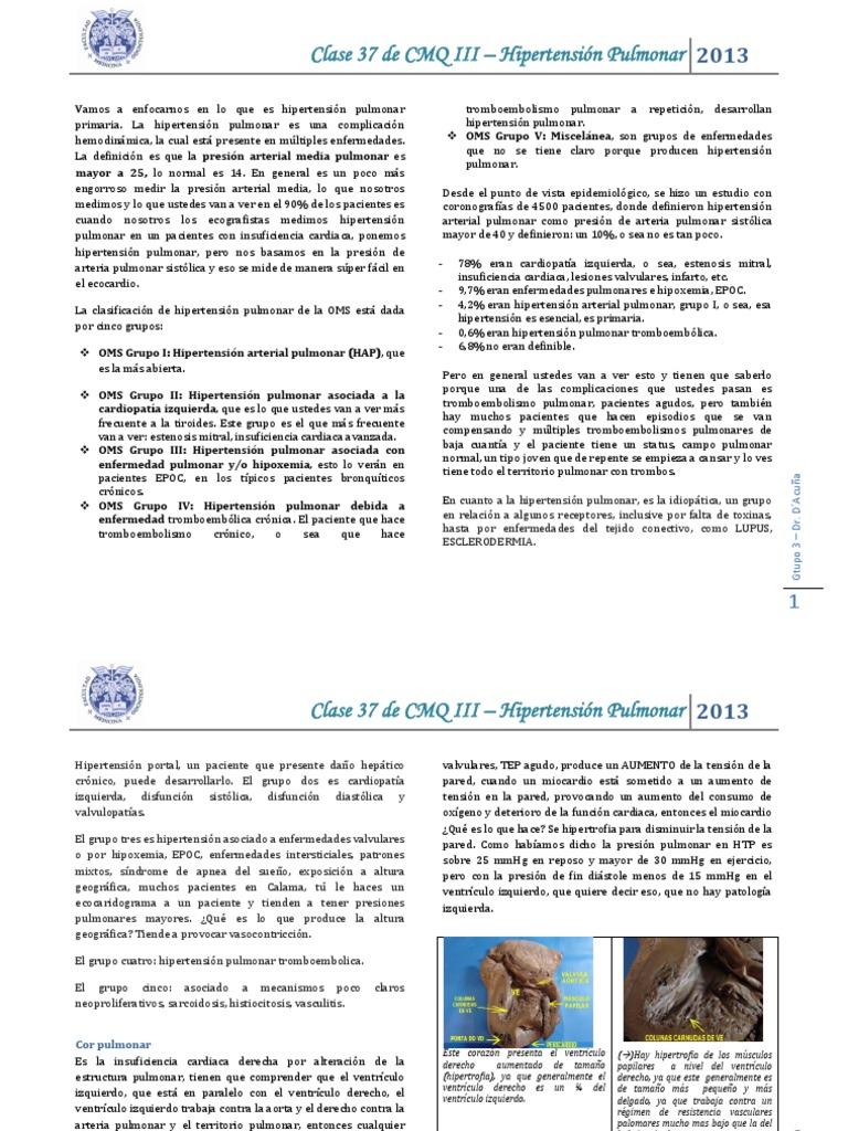 Hipoxemia nocturna hipertensión pulmonar