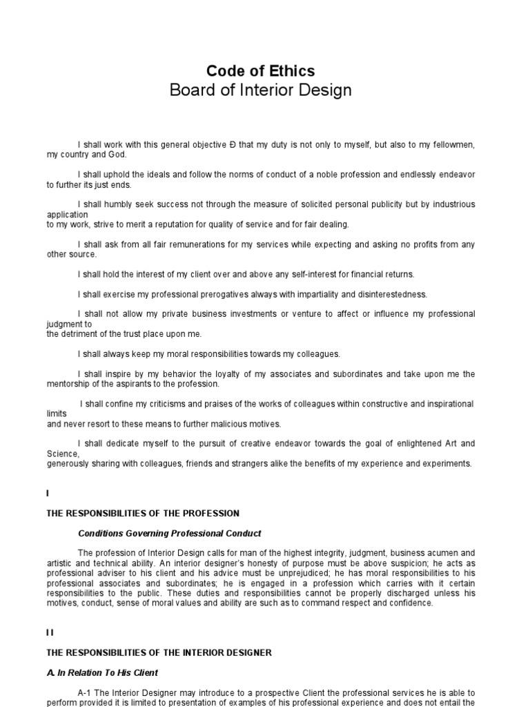 Code Of Ethics Architect Interior Design