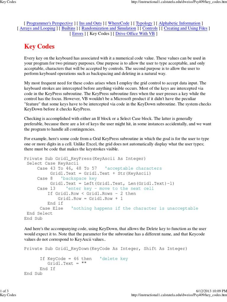 DAFTAR KODE ASCII | Computer Keyboard | Subroutine