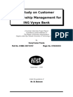 a study on customer relationship management for ING vysya Bank