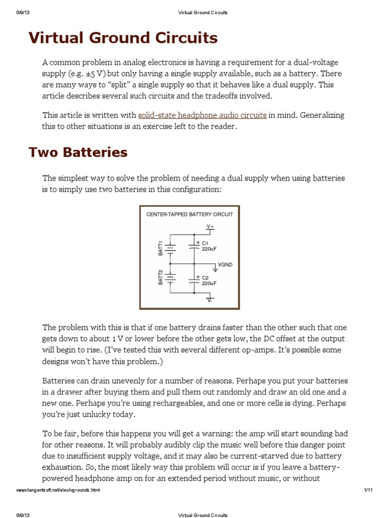Virtual Ground Circuits Operational Amplifier Op Amp Single Supply Opamps In Series Electrical Engineering