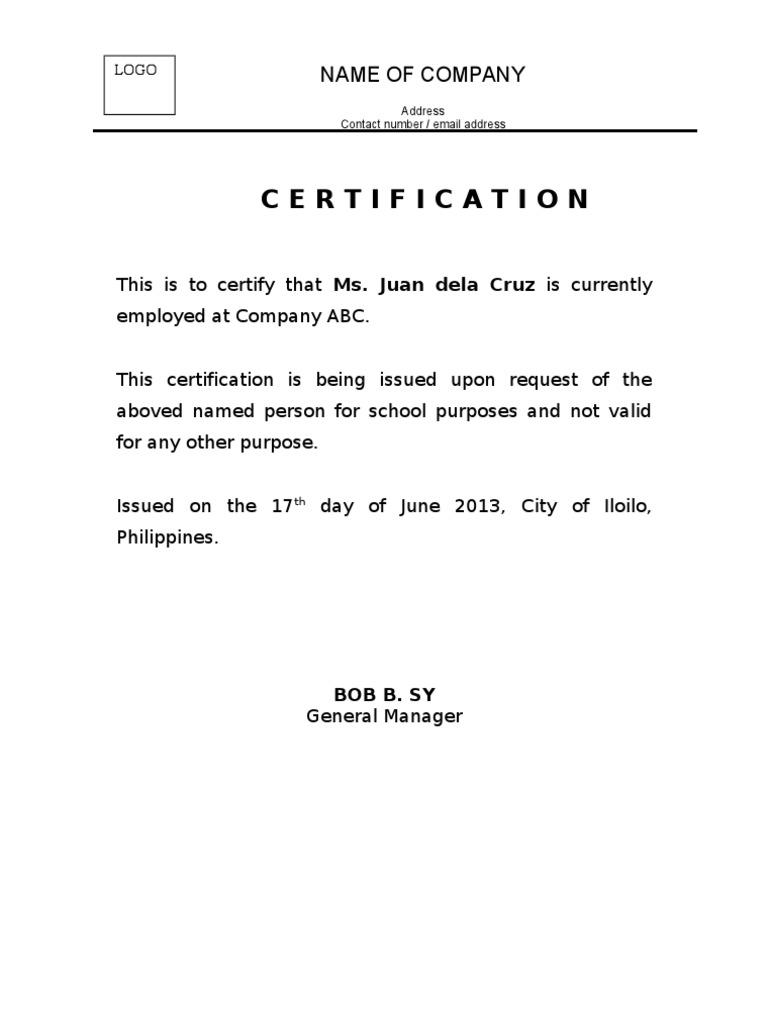 employment certificate doc