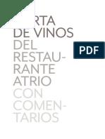 Carta Vinos Restaurante Atrio