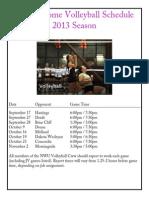 NWU Home Volleyball Schedule
