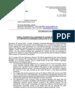 Press Release Ce Oltenia 22 January 2013