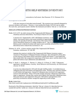 photograph relating to Self Esteem Test Printable identify Coopersmith Self-Esteem Stock: Reference