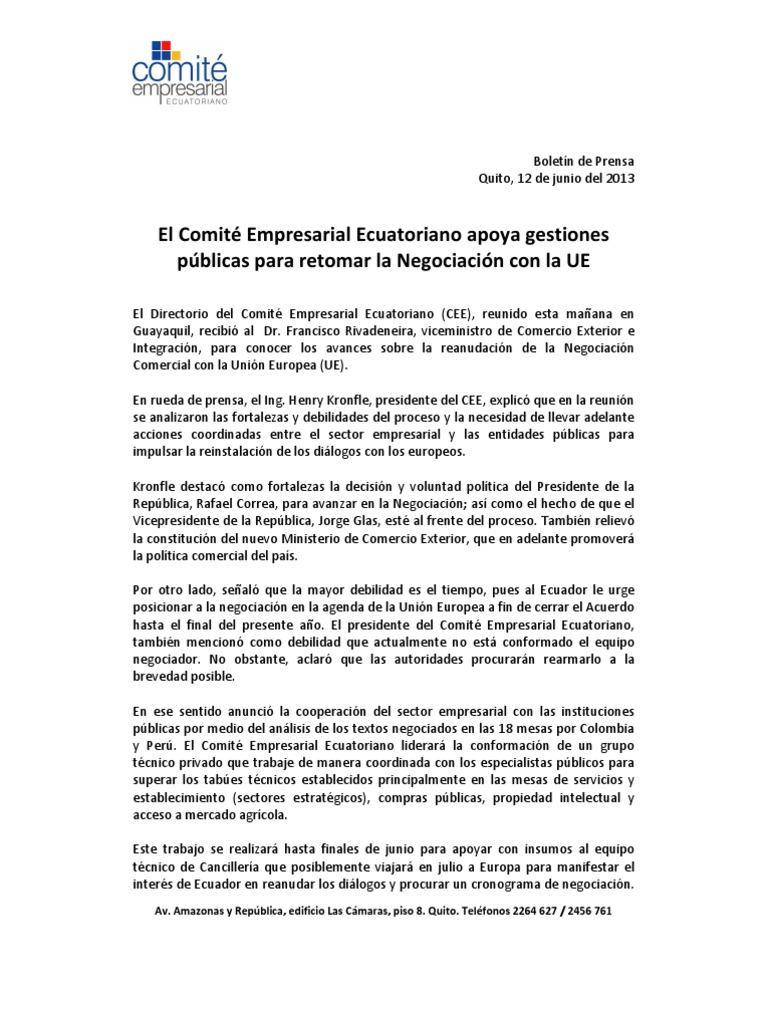 Boletín de Prensa CEE 12 junio