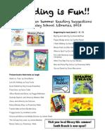 Kindergarten Summer Reading List 2013