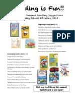 1st grade Summer Reading List 2013