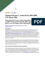 timitng belt replacement procedure for a vw passat b5