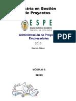 PROCESO DE INICIO ADMINISTRACIÓN DE PROYECTOS