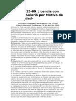 Acuerdo Gubernativo CM 15-69 Subsidio de Salarios en Tiempo de Suspension Por IGSS