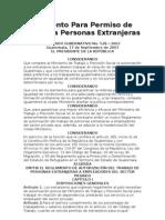 ACUERDO GUBERNATIVO No. 528 – 2003 Reglamento Para Permiso de Trabajo a Personas Extranjeras