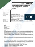 NBR 7549 - Aluminio e Suas Ligas - Ensaio de Tracao