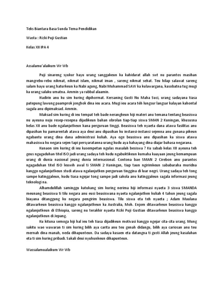 Teks Biantara Basa Sunda Tema Pendidikan