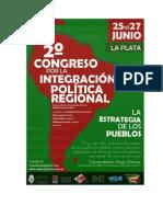 2do. Congreso por la Integración Política Regional - 25 al 27 de Junio - UNLP