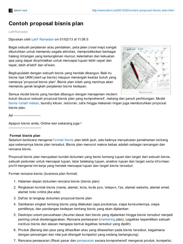 Skrol Net Contoh Proposal Bisnis Plan