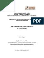 """análisis sobre """"La Calidad Educativa en el E-learning"""