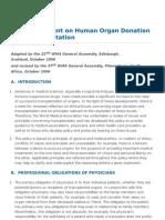 WMA Statement on Human Organ Donation