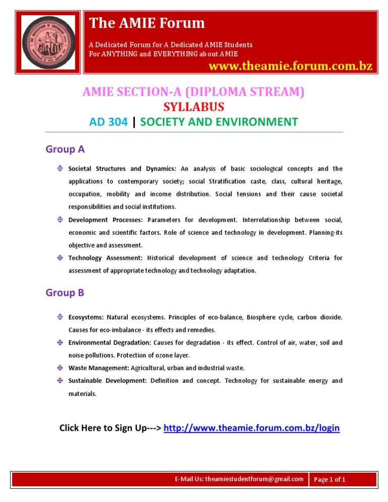 AMIE Section-A (D) Society Syllabus