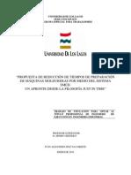 """""""PROPUESTA DE REDUCCIÓN DE TIEMPOS DE PREPARACIÓN DE MÁQUINAS MOLDURERAS POR MEDIO DEL SISTEMA SMED"""