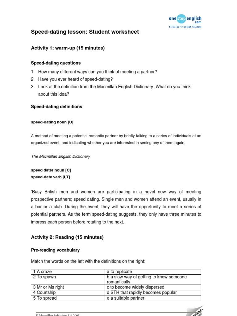 speed dating teaching activity