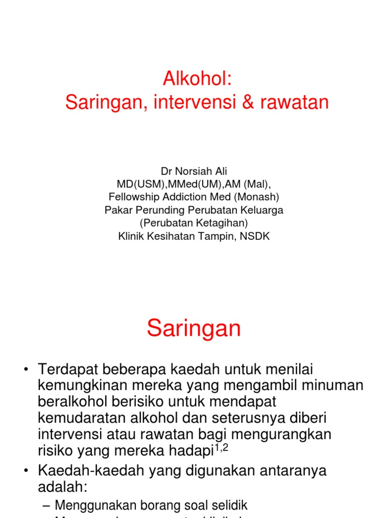 Alkohol Saringan Intervensi Rawatan