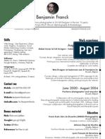 Benjamin Franck's Curriculum Vitae (CV)