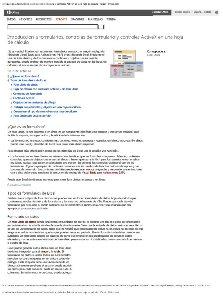 Introducción a formularios, controles de formulario y controles ...
