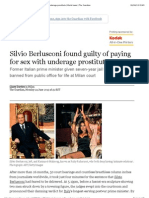 Silvio Berlusconi Found Guilty of Paying for Sex With Underage Prostitute | World News | the Guardian