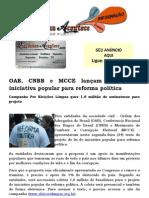 OAB, CNBB e MCCE lançam projeto de iniciativa popular para reforma política
