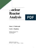 Duderstadt Hamilton Nuclear Reactor Analysis