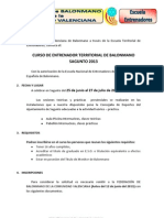 Información curso Entrenador Territorial Sagunto 2013