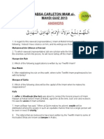 Imam Mahdi Quiz - ANSWERS
