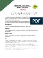 Imam Mahdi Quiz - ANSWERS