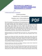 Kode Etik Penelusuran Gua Himpunan Kegiatan Speleologi Indonesia Federation of Indonesia Speleological