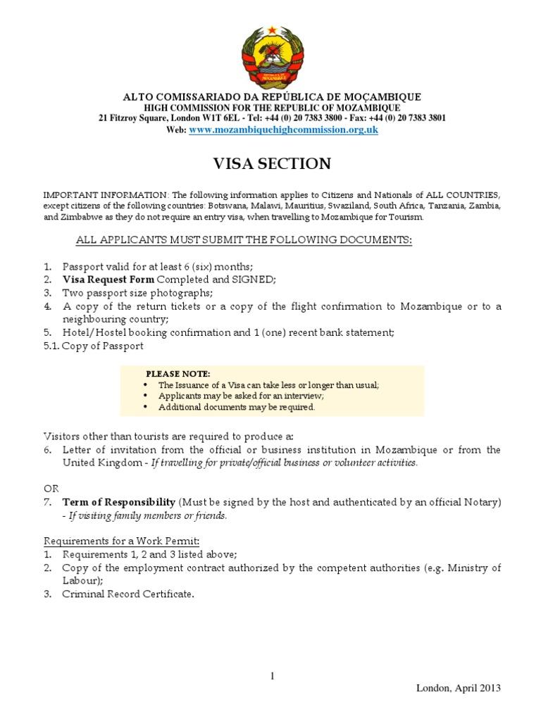 Visa Application Form April 2013 Mhc Travel Visa Passport