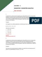 Evaluación Nacional 2013 - Algebra, Trogonometria y Geometria analitica