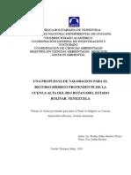 Sanchez-Torres Becker (2005) Una propuesta para la valoración del recurso hidrico  proveniente de la Cuenca Alta del Río Botanamo.