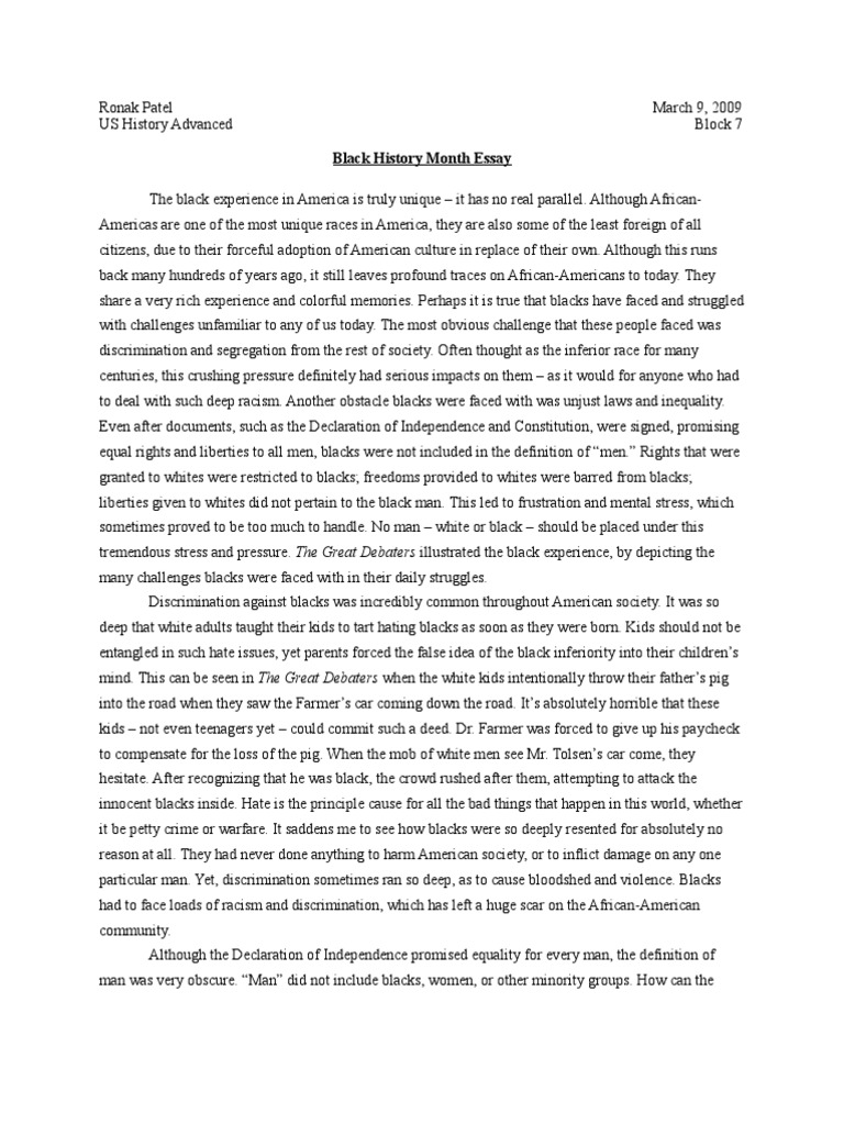 african american history 2 essay Free essay: facts about african american history i introduction to afro-american history a central theme-quest for 1 freedom, 2 equality, 3.
