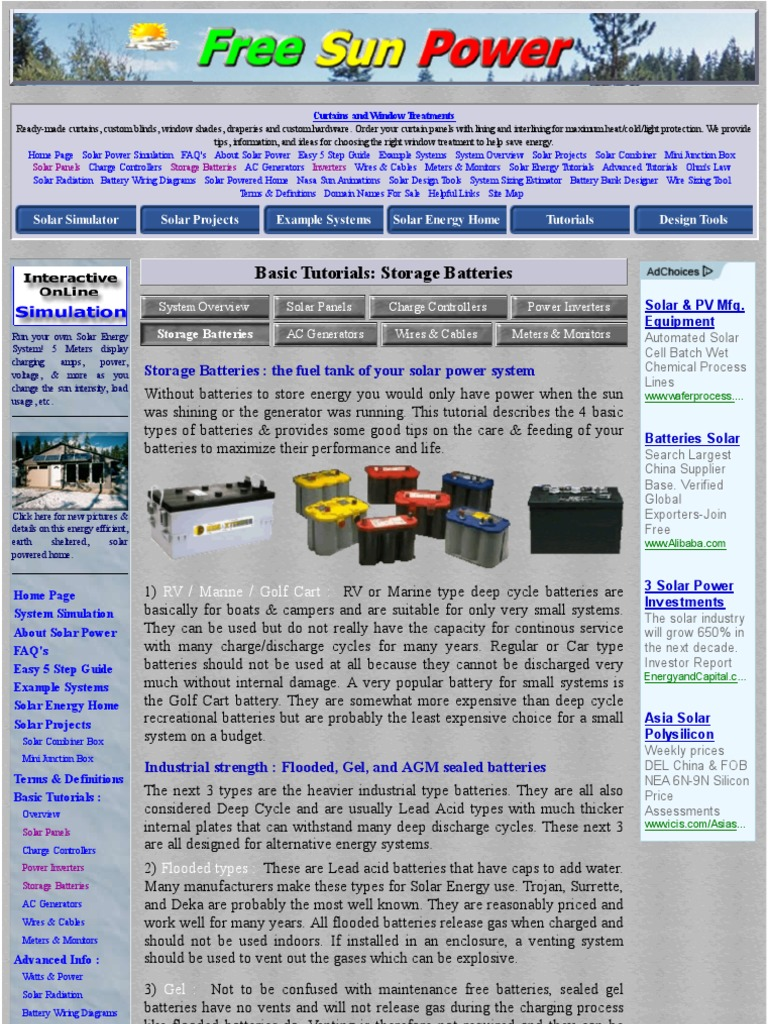 Basic Tutorials Batteries For Solar Energy Systems Battery Wiring Diagram Electricity Power