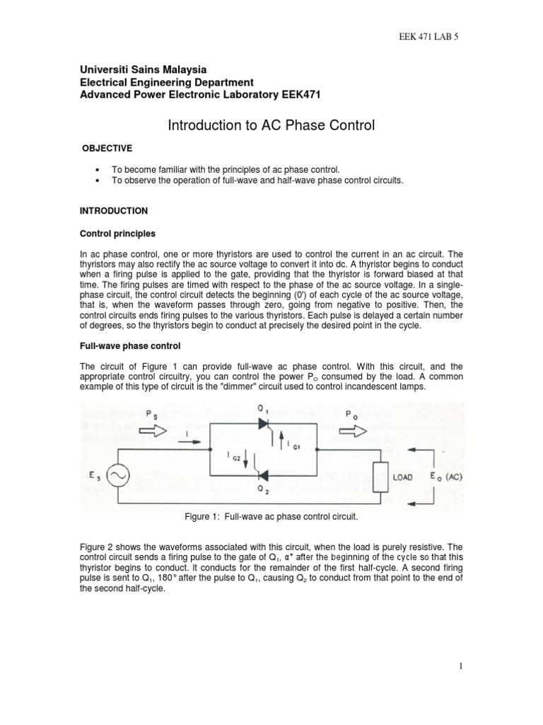 The Thyristor Breadboard Circuit Exp 5 Intro To Ac Phase Control Power Rectifier