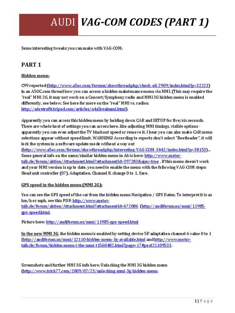 Vag-com Codes v2 (Part 1)   Anti Lock Braking System   Tire
