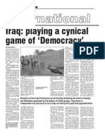 Iraq Playing a Cynical Game of Democracy