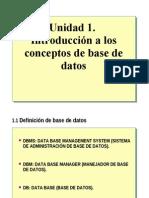 UNIDAD 1 INTRODUCCIÓN A LOS CONCEPTOS DE BASE DE DATOS