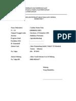 Formulir Pendaftaran Magang Kerja