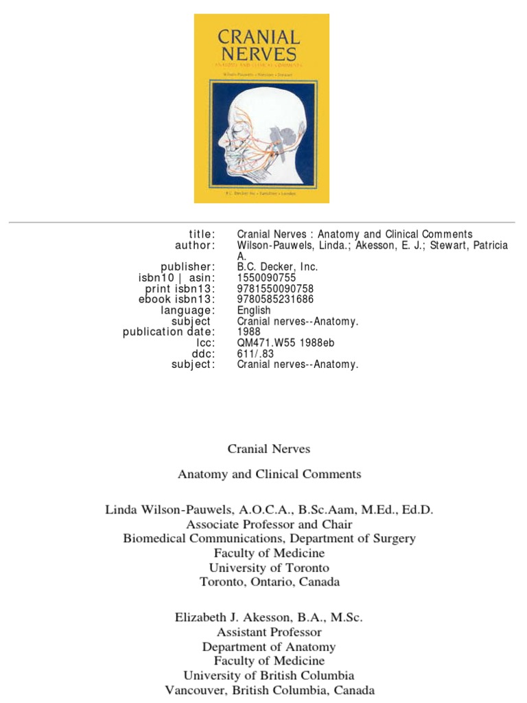 Cranial Nerves-Anatomy and Clinical Comments Wilson-Pauwels ...