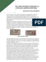 Emisiones de papel moneda durante la Guerra Civil en Caudete (1937-1938).