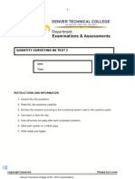Quantit Surveying n4 Test 2 -3rd Trimester 2012