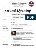 Smallcakes Grand Opening Schedule of Events